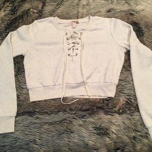 FOREVER 21 LACE-UP CROPPED SWEATSHIRT!!!